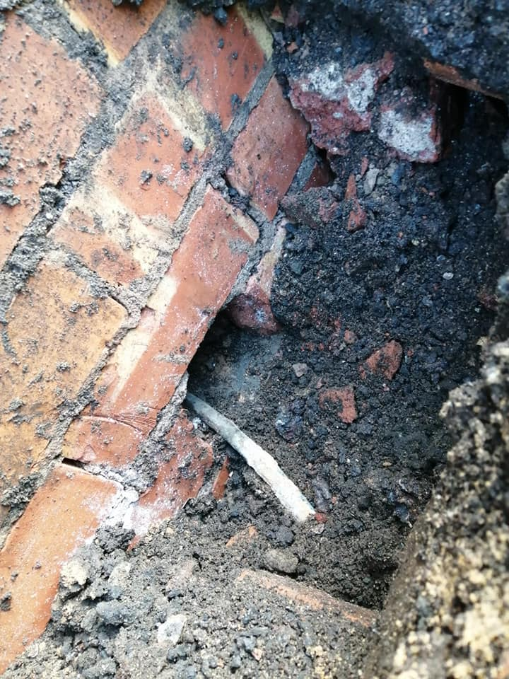 The missing brick that has allowed rats in the sewer to access a home.